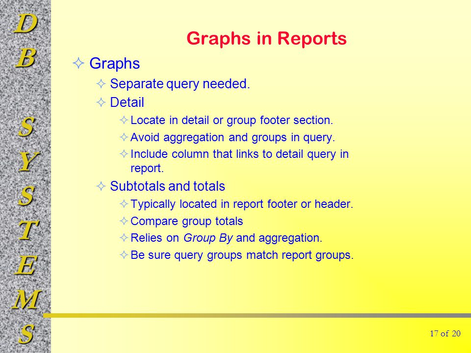 DBSYSTEMS Graphs in Reports  Graphs  Separate query needed.