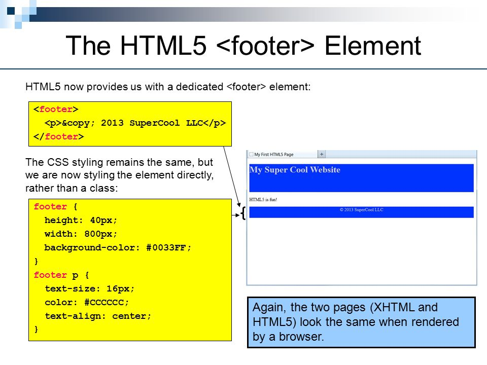 The HTML5 Element HTML5 now provides us with a dedicated element: © 2013 SuperCool LLC The CSS styling remains the same, but we are now styling the element directly, rather than a class: footer { height: 40px; width: 800px; background-color: #0033FF; } footer p { text-size: 16px; color: #CCCCCC; text-align: center; } Again, the two pages (XHTML and HTML5) look the same when rendered by a browser.