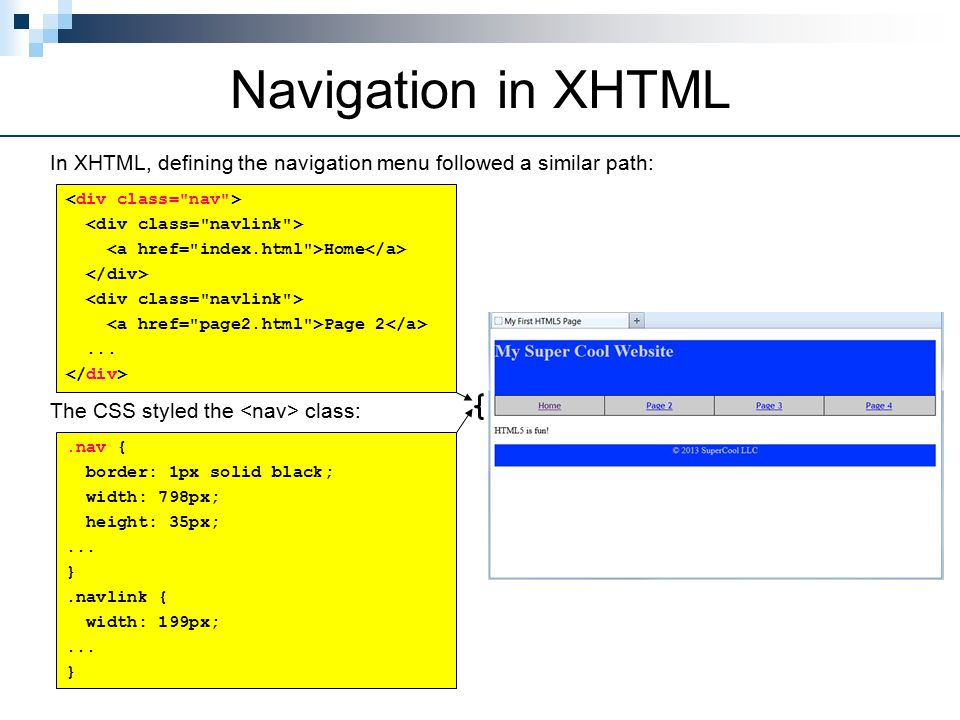 Navigation in XHTML In XHTML, defining the navigation menu followed a similar path: Home Page 2...