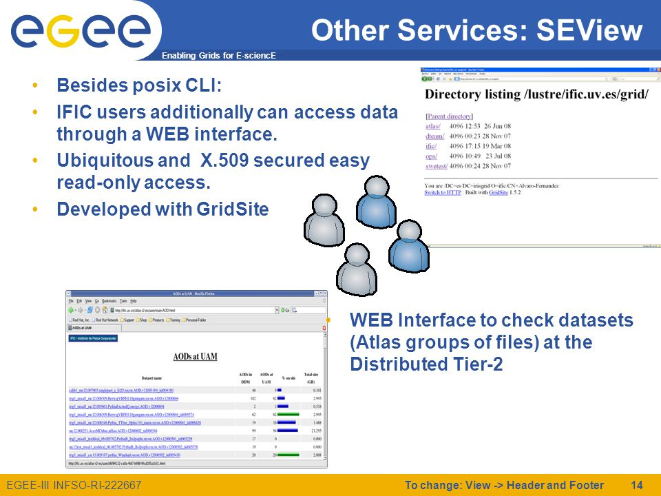 Enabling Grids for E-sciencE EGEE-III INFSO-RI-222667 Other Services: SEView Besides posix CLI: IFIC users additionally can access data through a WEB interface.
