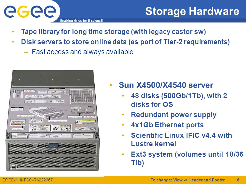 Enabling Grids for E-sciencE EGEE-III INFSO-RI-222667 Storage Hardware Tape library for long time storage (with legacy castor sw) Disk servers to store online data (as part of Tier-2 requirements) –Fast access and always available To change: View -> Header and Footer 6 Sun X4500/X4540 server 48 disks (500Gb/1Tb), with 2 disks for OS Redundant power supply 4x1Gb Ethernet ports Scientific Linux IFIC v4.4 with Lustre kernel Ext3 system (volumes until 18/36 Tib)