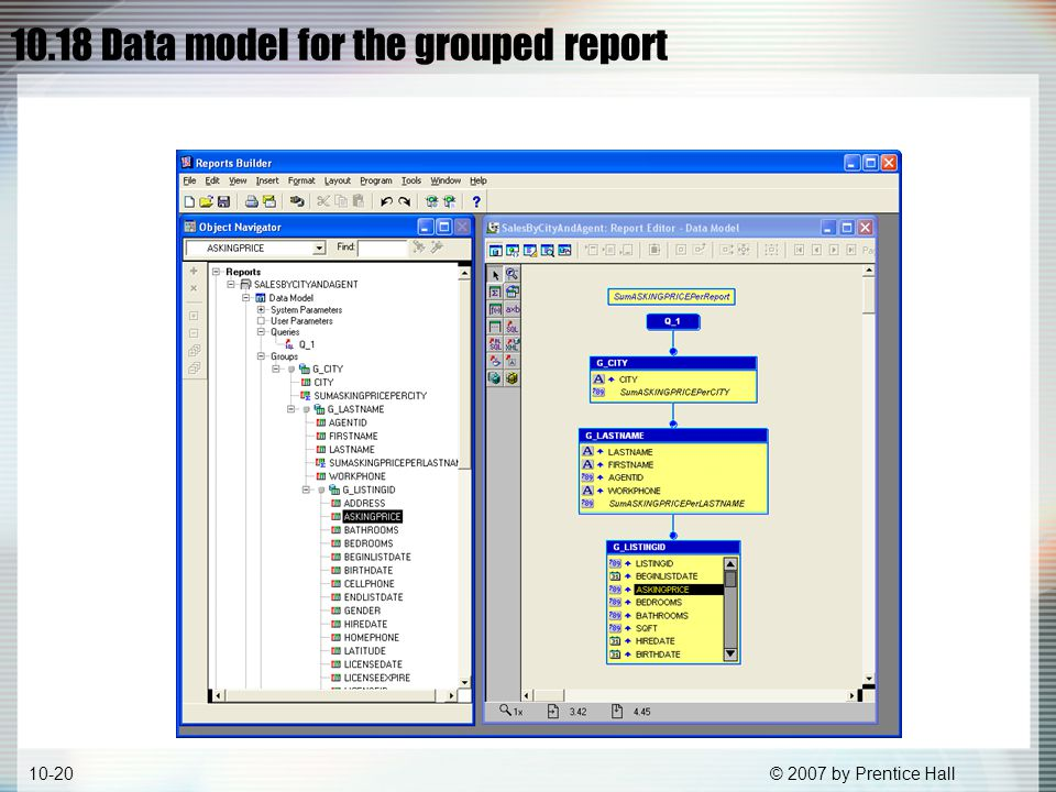 © 2007 by Prentice Hall10-20 10.18 Data model for the grouped report