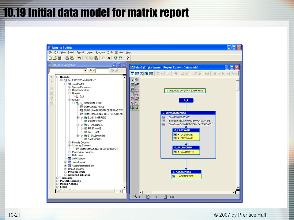 © 2007 by Prentice Hall10-21 10.19 Initial data model for matrix report