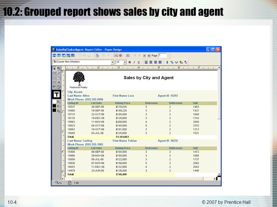 © 2007 by Prentice Hall10-35 10.32 Initial Web view of Sales by City and Agent Customizing Web reports