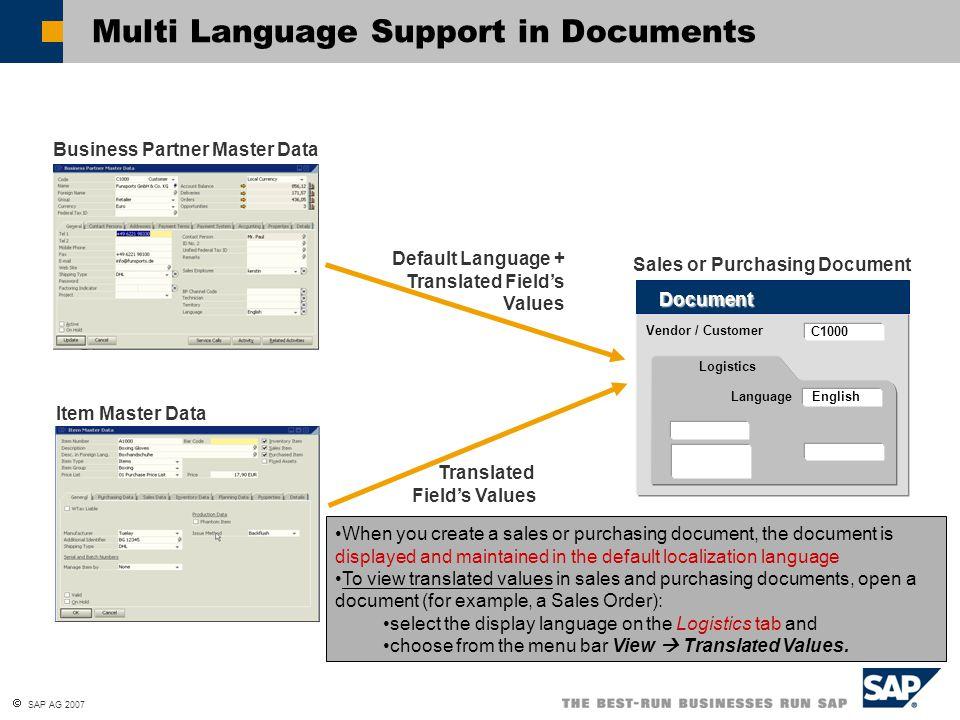  SAP AG 2007 Multi Language Support in Documents Business Partner Master Data Default Language + Translated Field's Values Item Master Data Vendor /