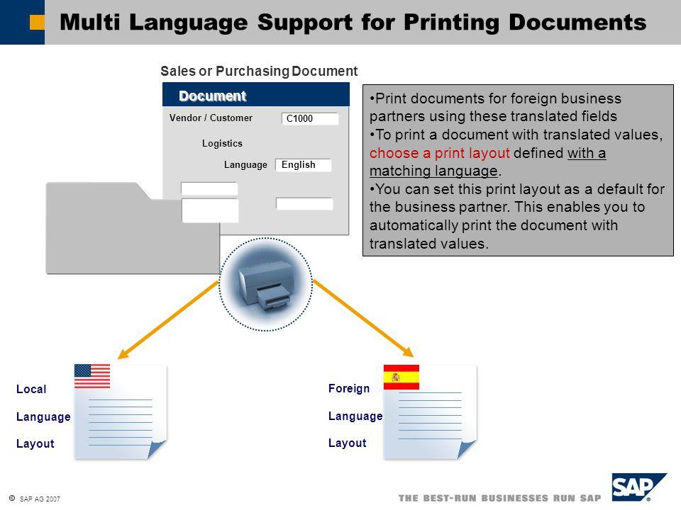  SAP AG 2007 Multi Language Support for Printing Documents Foreign Language Layout Local Language Layout Vendor / Customer Document C1000 Language En