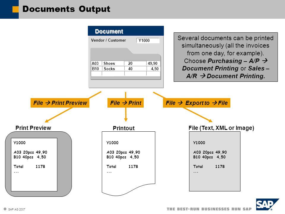  SAP AG 2007 Documents Output Vendor / Customer Document Y1000 A03 Shoes 20 49,90 B10 Socks 40 4,50 Print Preview Printout Y1000 A03 20pcs 49,90 B10