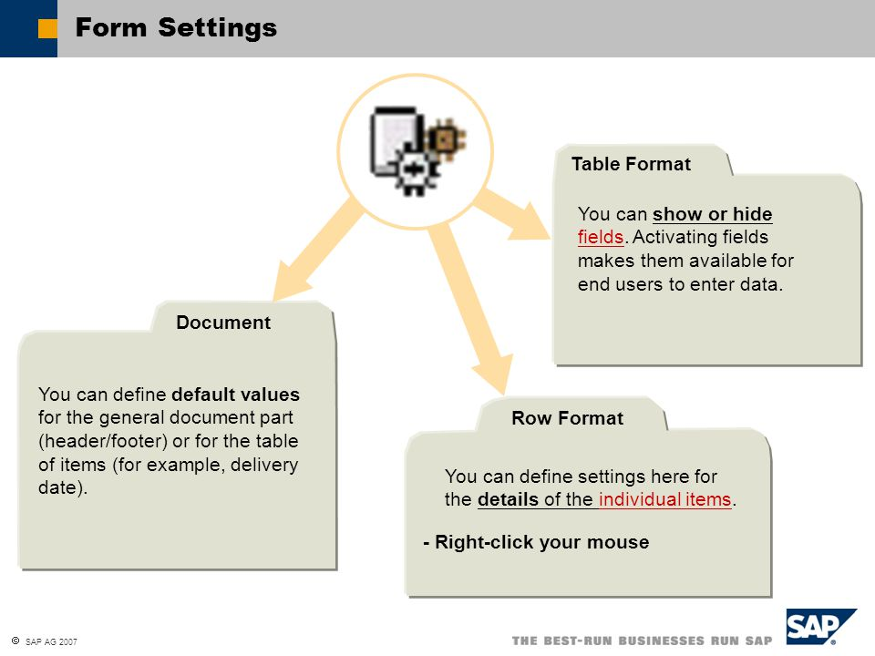  SAP AG 2007 Form Settings You can define default values for the general document part (header/footer) or for the table of items (for example, delive