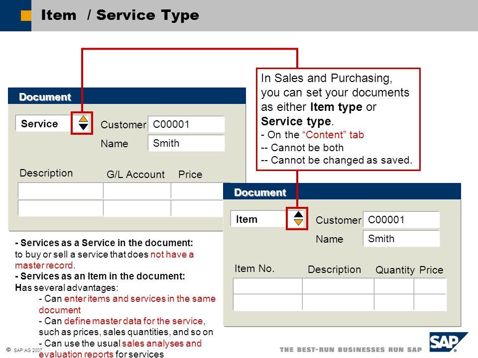  SAP AG 2007 Item / Service Type Service Customer Description Document G/L Account Price C00001 Name Smith Item Customer Item No. Document Descriptio