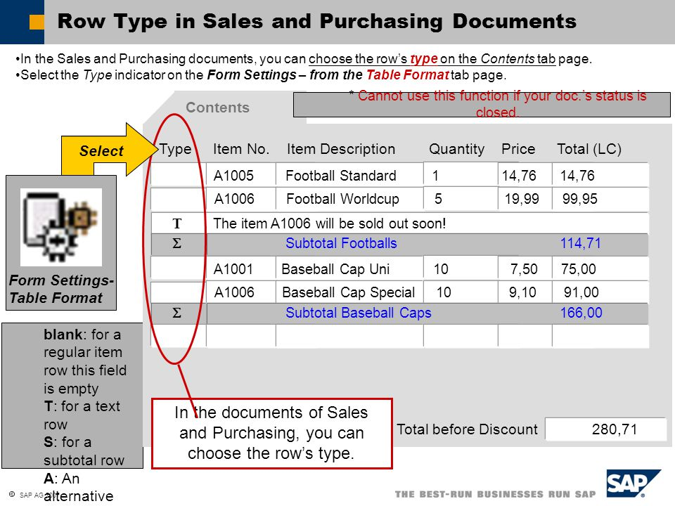  SAP AG 2007 Use the important functions in sales and purchasing documents Add documents as drafts 草稿 Work with business partner catalog numbers Use the multi language support in documents Explain the different output functions of documents General Functions of Documents: Topic Objectives At the conclusion of this topic, you will be able to: