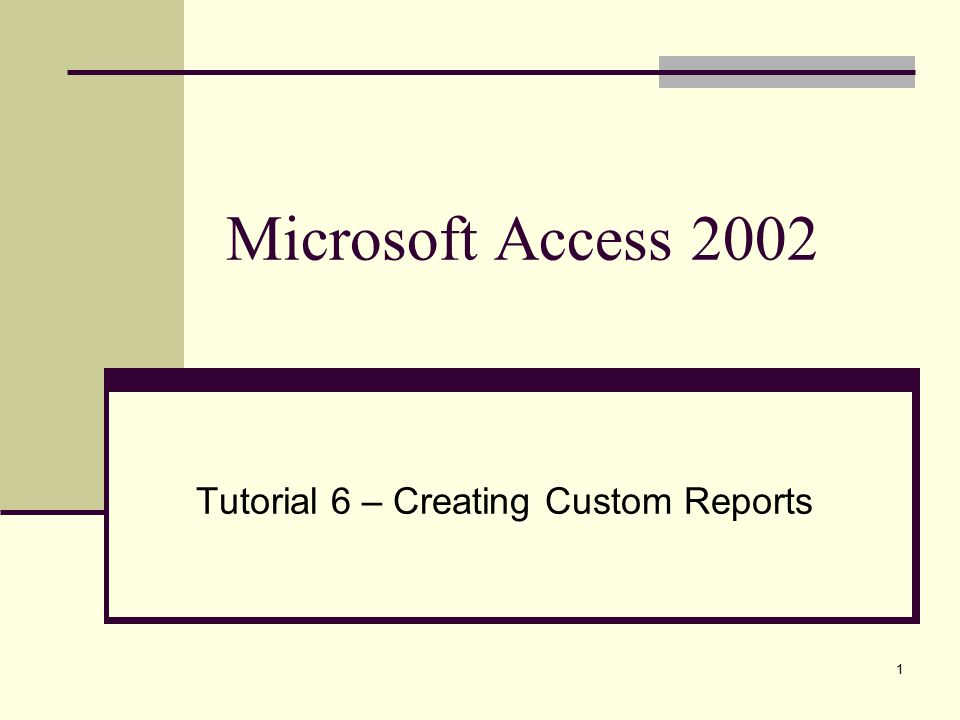 1 Microsoft Access 2002 Tutorial 6 – Creating Custom Reports