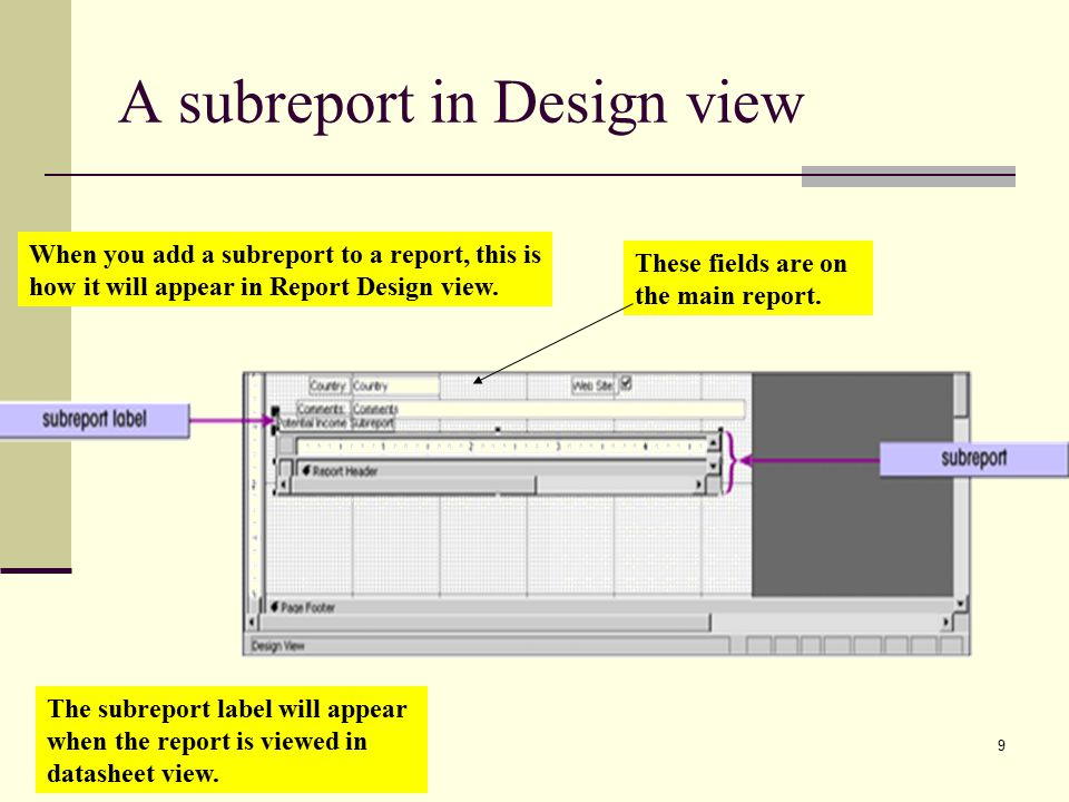 9 A subreport in Design view When you add a subreport to a report, this is how it will appear in Report Design view.