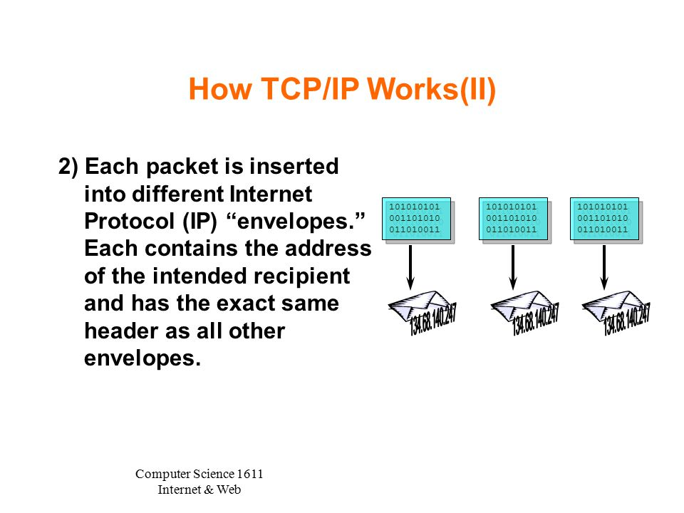 Computer Science 1611 Internet & Web How TCP/IP Works(II) 2) Each packet is inserted into different Internet Protocol (IP) envelopes. Each contains the address of the intended recipient and has the exact same header as all other envelopes.