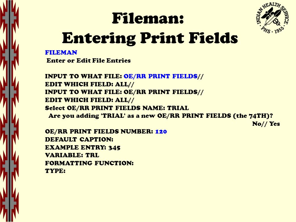 Fileman: Entering Print Fields FILEMAN Enter or Edit File Entries INPUT TO WHAT FILE: OE/RR PRINT FIELDS// EDIT WHICH FIELD: ALL// INPUT TO WHAT FILE: OE/RR PRINT FIELDS// EDIT WHICH FIELD: ALL// Select OE/RR PRINT FIELDS NAME: TRIAL Are you adding TRIAL as a new OE/RR PRINT FIELDS (the 74TH).