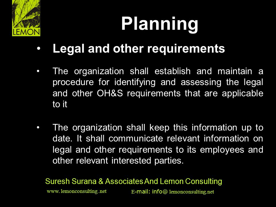 ‹date/time›‹footer›‹#› Suresh Surana & Associates And Lemon Consulting Legal and other requirements The organization shall establish and maintain a pr