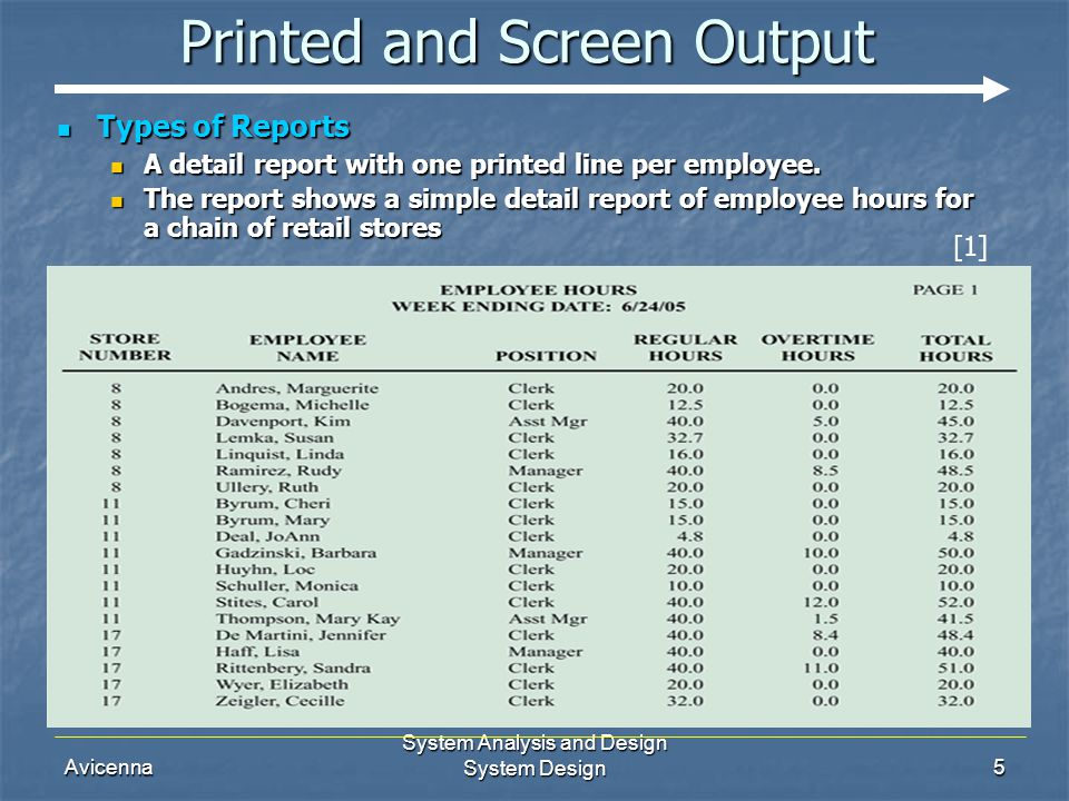 Avicenna System Analysis and Design System Design5 Printed and Screen Output Types of Reports Types of Reports A detail report with one printed line per employee.