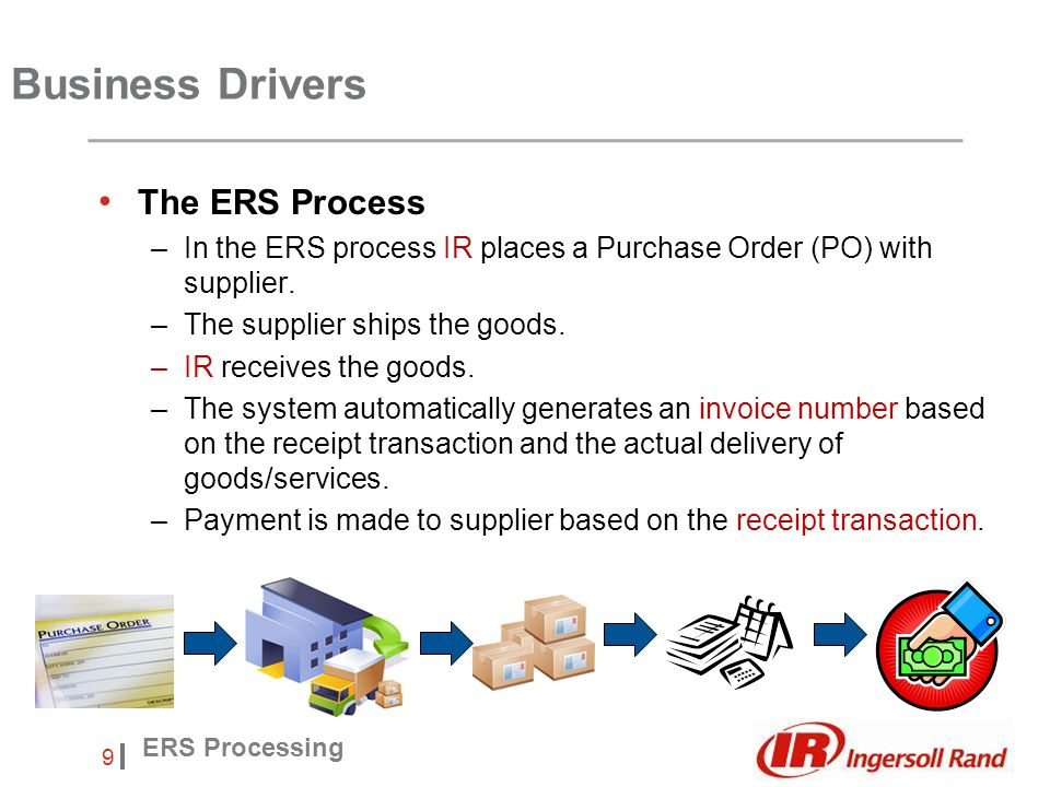Insert Footer 9 ERS Processing The ERS Process –In the ERS process IR places a Purchase Order (PO) with supplier.
