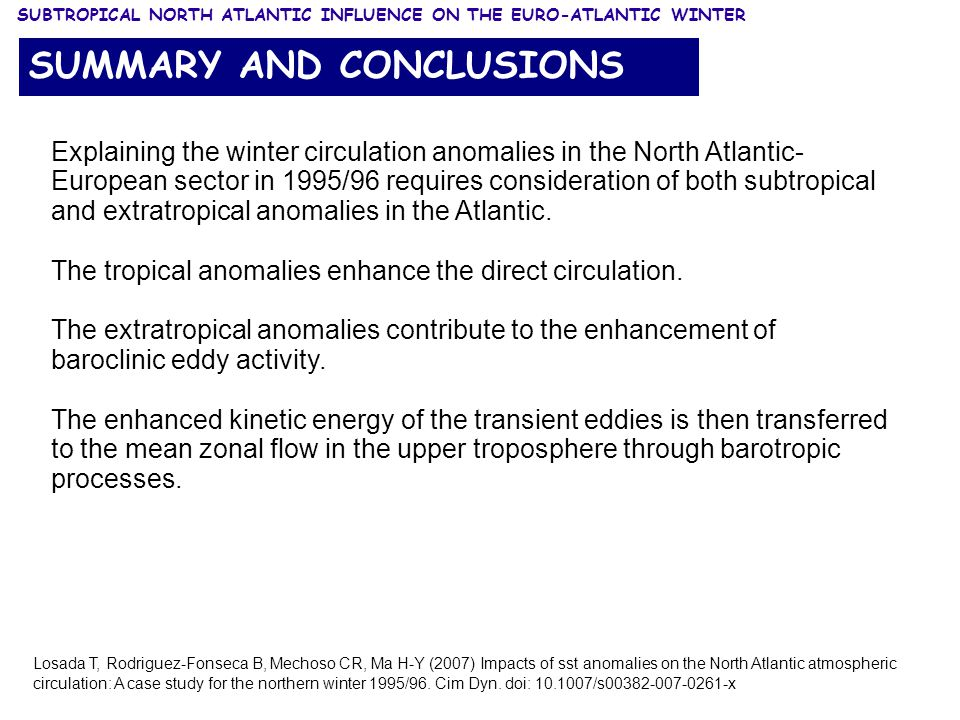 Explaining the winter circulation anomalies in the North Atlantic- European sector in 1995/96 requires consideration of both subtropical and extratropical anomalies in the Atlantic.