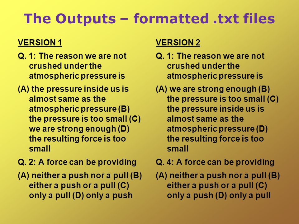 The Outputs – formatted.txt files VERSION 1 Q.
