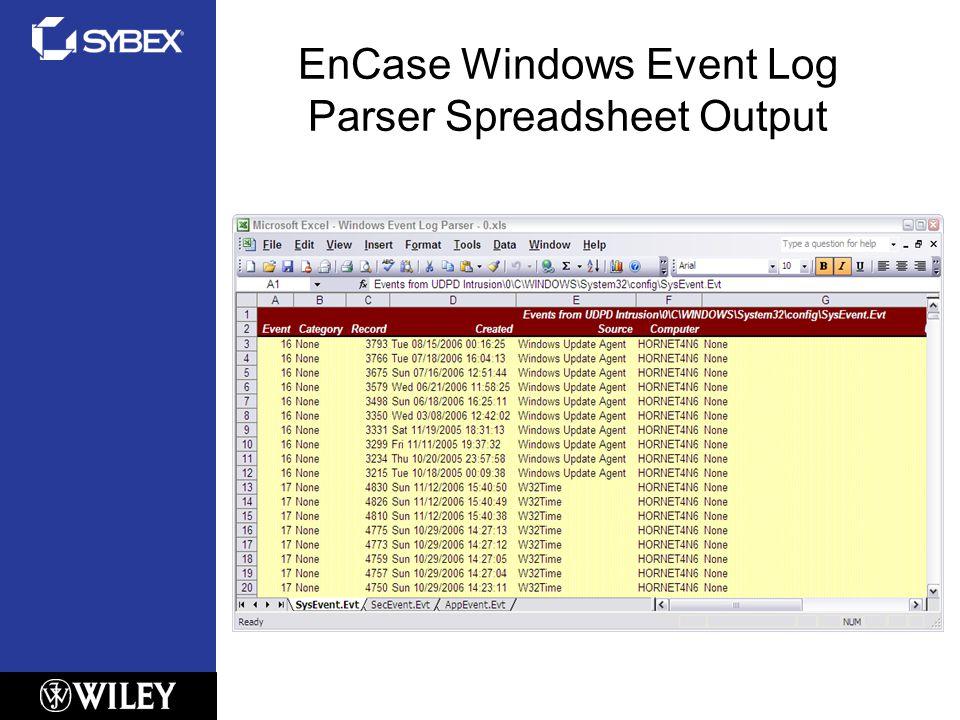 EnCase Windows Event Log Parser Spreadsheet Output