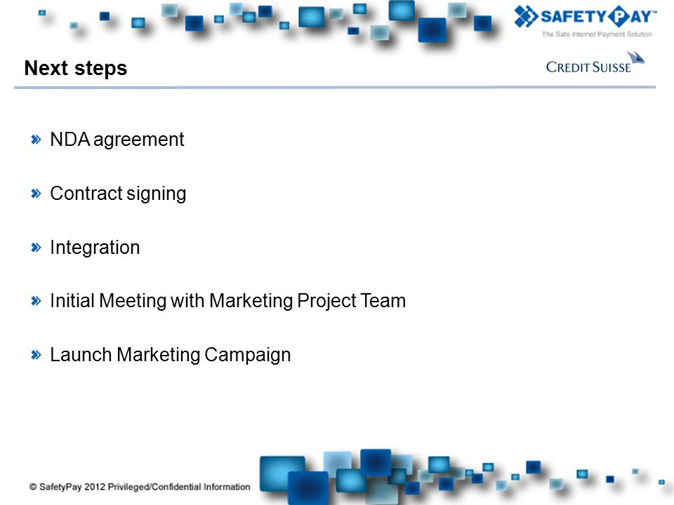 Here comes your footer NDA agreement Contract signing Integration Initial Meeting with Marketing Project Team Launch Marketing Campaign Next steps