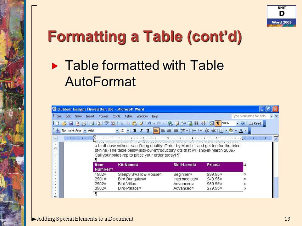 13Adding Special Elements to a Document Formatting a Table (cont'd)  Table formatted with Table AutoFormat
