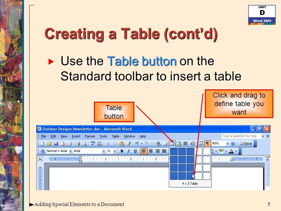 16Adding Special Elements to a Document Inserting WordArt (cont'd)  To create WordArt: 1.Select the text you want to create as WordArt 2.Click the Insert WordArt button on the Drawing toolbar Insert WordArt button Drawing toolbar