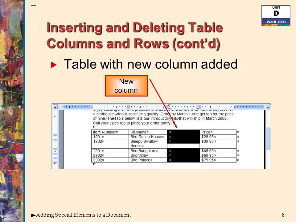 8Adding Special Elements to a Document Inserting and Deleting Table Columns and Rows (cont'd)  Table with new column added New column