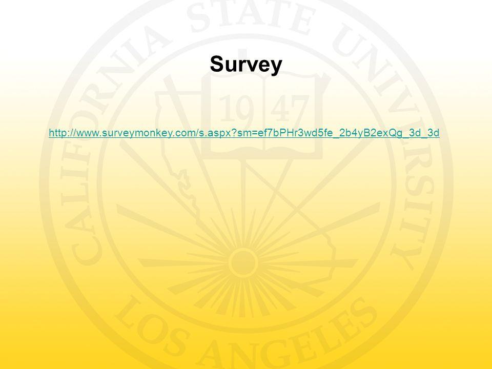 Survey http://www.surveymonkey.com/s.aspx?sm=ef7bPHr3wd5fe_2b4yB2exQg_3d_3d