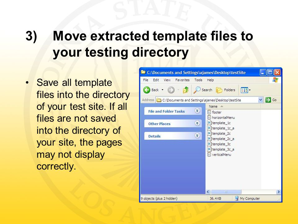 3)Move extracted template files to your testing directory Save all template files into the directory of your test site.
