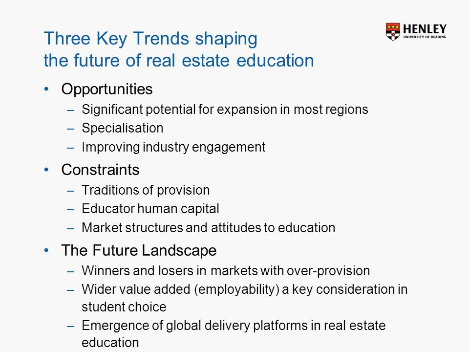 Insert footer on Slide Master Three Key Trends shaping the future of real estate education Opportunities –Significant potential for expansion in most