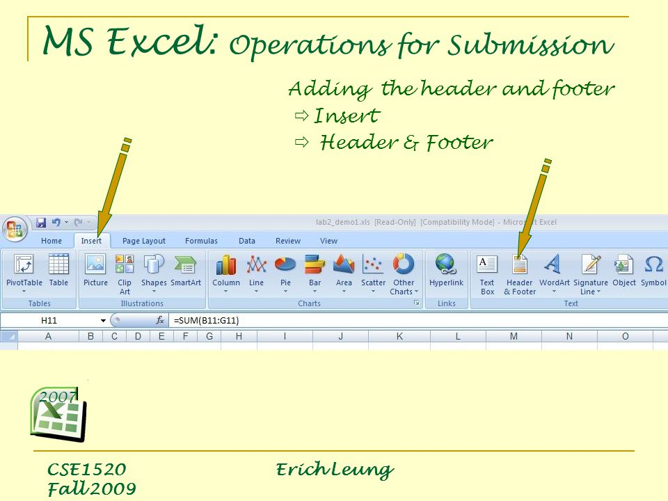 CSE1520 Erich Leung Fall 2009 Adding the header and footer  Insert  Header & Footer 2007 MS Excel: Operations for Submission