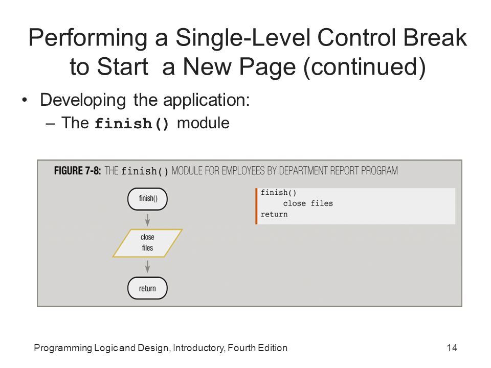 Programming Logic and Design, Introductory, Fourth Edition14 Performing a Single-Level Control Break to Start a New Page (continued) Developing the ap