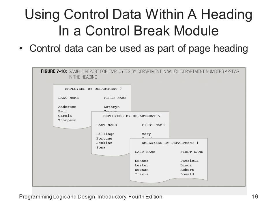 Programming Logic and Design, Introductory, Fourth Edition16 Using Control Data Within A Heading In a Control Break Module Control data can be used as