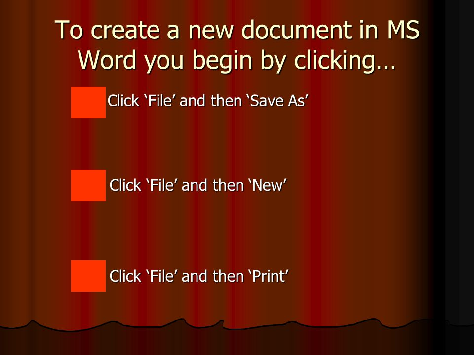 MS Word Document Back to Lesson