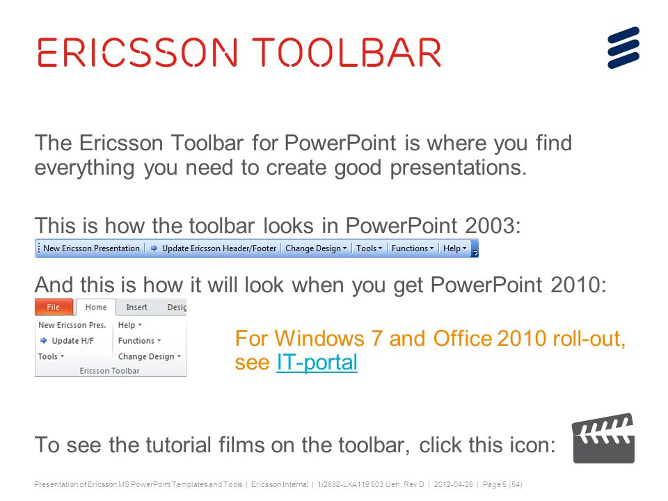 Ericsson power point templates a presentation about the toolbar 5 slide toneelgroepblik Choice Image