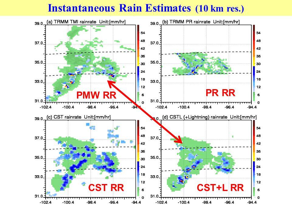 Instantaneous Rain Estimates (10 km res.) PMW RR PR RR CST RRCST+L RR