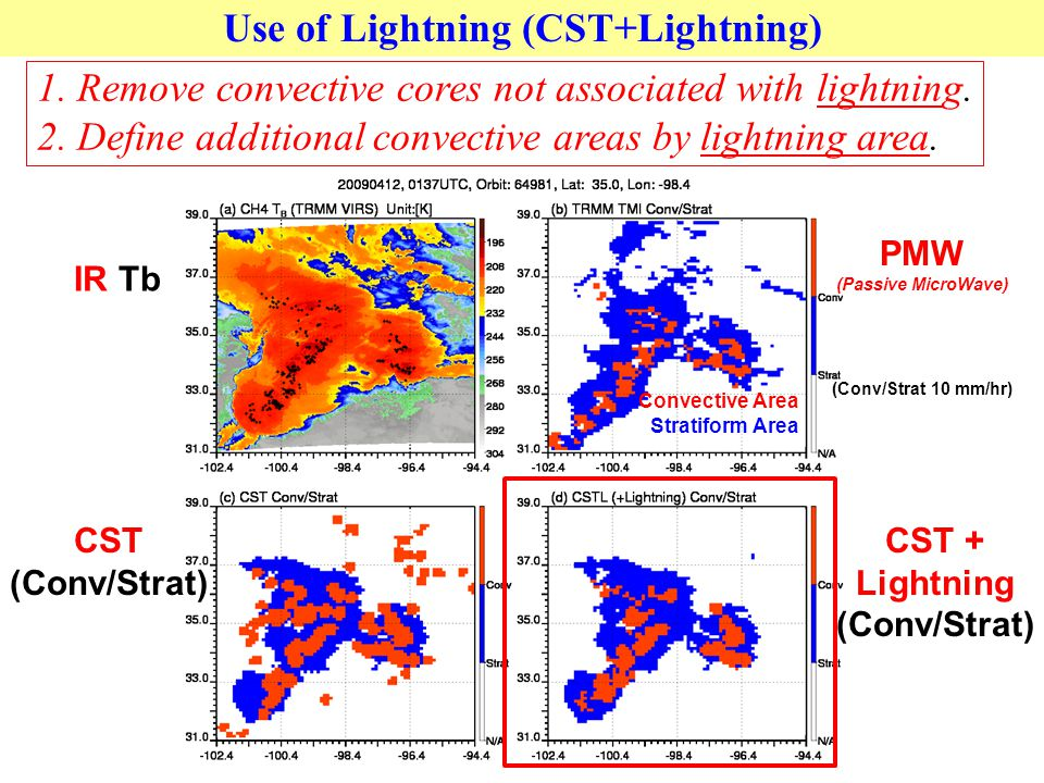 1. Remove convective cores not associated with lightning.