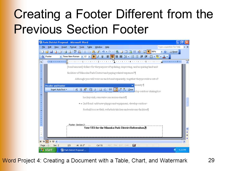 Word Project 4: Creating a Document with a Table, Chart, and Watermark 29 Creating a Footer Different from the Previous Section Footer