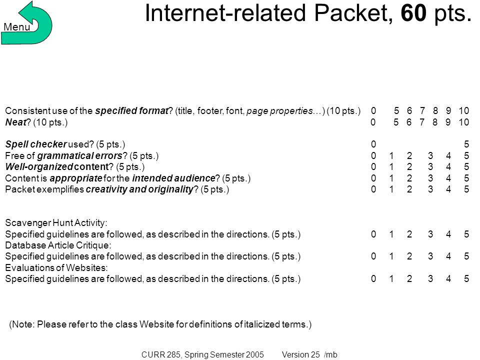 CURR 285, Spring Semester 2005 Version 25 /mb Internet-related Packet, 60 pts.