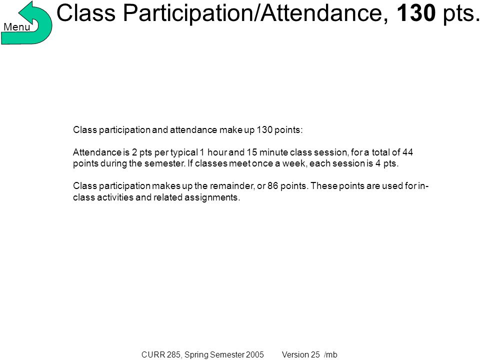 CURR 285, Spring Semester 2005 Version 25 /mb Class Participation/Attendance, 130 pts.