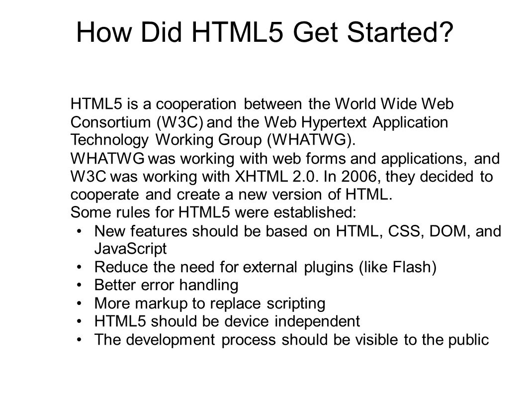 How Did HTML5 Get Started.