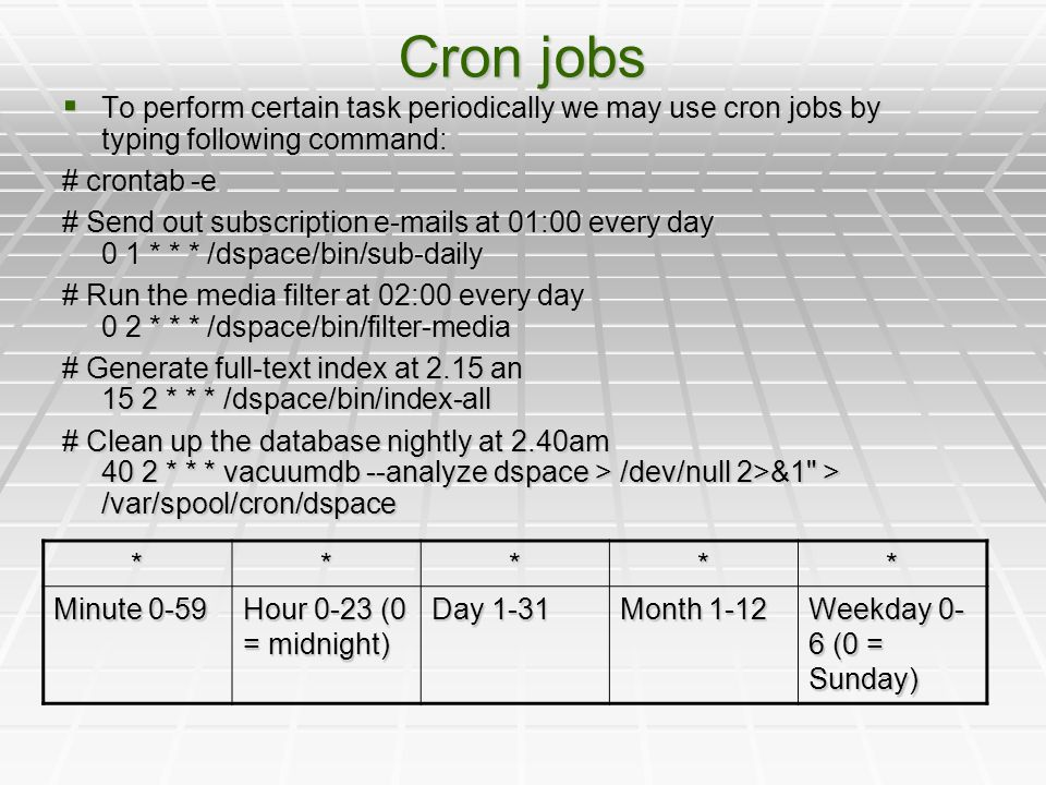 Cron jobs  To perform certain task periodically we may use cron jobs by typing following command: # crontab -e # Send out subscription e-mails at 01: