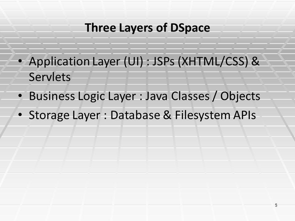 5 Three Layers of DSpace Application Layer (UI) : JSPs (XHTML/CSS) & Servlets Business Logic Layer : Java Classes / Objects Storage Layer : Database &