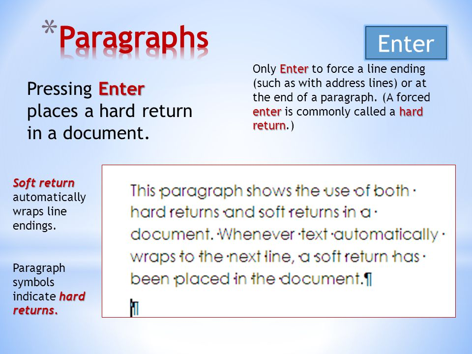 Enter Pressing Enter places a hard return in a document.