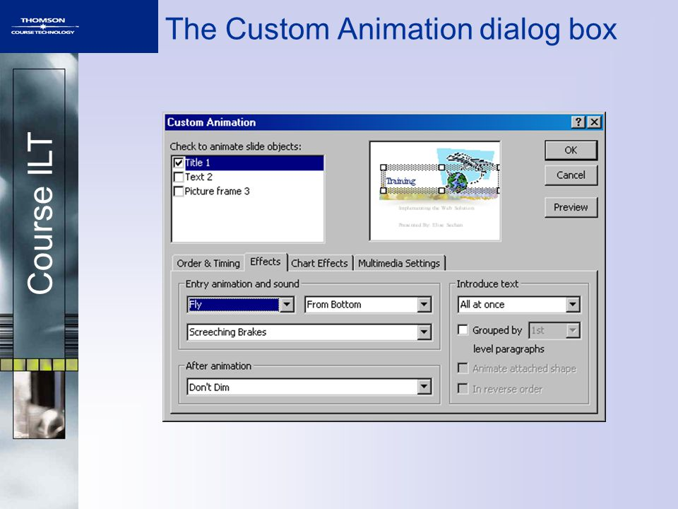 Course ILT The Custom Animation dialog box