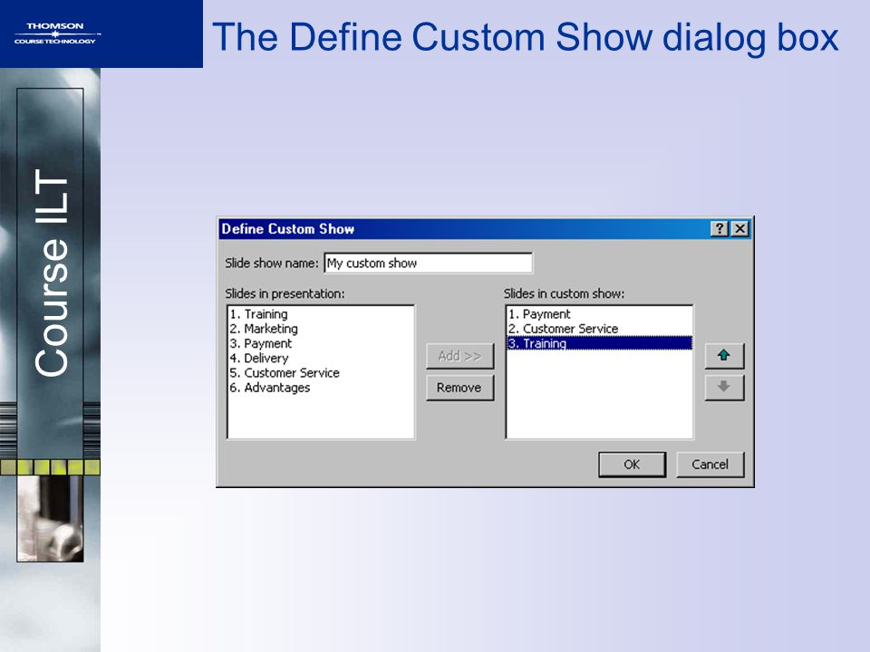 Course ILT The Define Custom Show dialog box