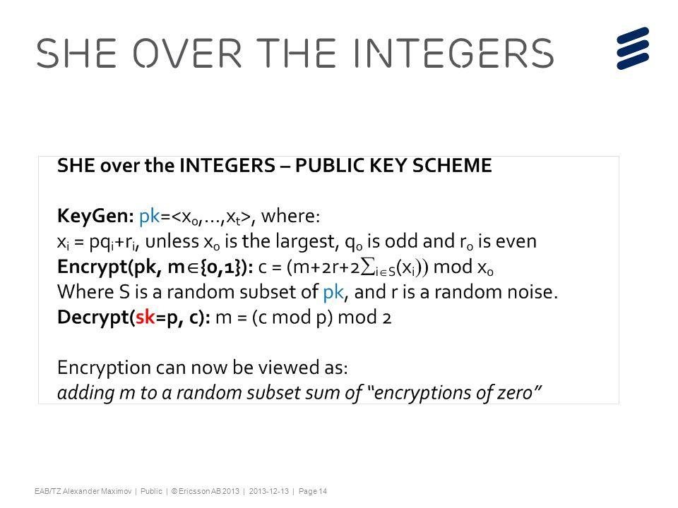 "Slide title 44 pt Text and bullet level 1 minimum 24 pt Bullets level 2-5 minimum 20 pt Characters for Embedded font: ! #$%& ()*+,-./0123456789:; @ABCDEFGHIJKLMNOPQRSTUV WXYZ[\]^_`abcdefghijklmnopqrstuvwxyz{|}~¡ ¢£¤¥¦§¨©ª«¬®¯°±²³´¶·¸¹º»¼½ÀÁÂÃÄÅÆÇÈËÌÍÎÏÐÑÒÓ ÔÕÖ×ØÙÚÛÜÝÞßàáâãäåæçèéêëìíîïðñòóôõö÷ øùúûüýþÿĀāĂăąĆćĊċČĎďĐđĒĖėĘęĚěĞğĠġĢģĪī ĮįİıĶķĹĺĻļĽľŁłŃńŅņŇňŌŐőŒœŔŕŖŗŘřŚśŞşŠšŢţ ŤťŪūŮůŰűŲųŴŵŶŷŸŹźŻżŽžƒȘșˆˇ˘˙˚˛˜˝ẀẁẃẄẅỲ ỳ–— ''' ""†‡…‰‹›⁄€™ĀĀĂĂĄĄĆĆĊĊČČĎĎĐĐĒĒĖĖĘĘĚĚĞĞ ĠĠĢĢĪĪĮĮİĶĶĹĹĻĻĽĽŃŃŅŅŇŇŌŌŐŐŔŔŖŖŘŘŚŚŞŞŢŢŤ ŤŪŪŮŮŰŰŲŲŴŴŶŶŹŹŻŻȘș−≤≥fifl ΆΈΉΊΌΎΏΐΑΒΓΕΖΗΘΙΚΛΜΝΞΟΠΡΣΤΥΦΧΨΪΫΆΈΉΊΰ αβγδεζηθικλνξορςΣΤΥΦΧΨΩΪΫΌΎΏ ЁЂЃЄЅІЇЈЉЊЋЌЎЏАБВГДЕЖЗИЙКЛМНОПРСТУФХ ЦЧШЩЪЫЬЭЮЯАБВГДЕЖЗИЙКЛМНОПРСТУФХЦ ЧШЩЪЫЬЭЮЯЁЂЃЄЅІЇЈЉЊЋЌЎЏѢѢѲѲѴѴҐҐә ǽ Ẁ ẁẂẃẄẅỲỳ№ Do not add objects or text in the footer area EAB/TZ Alexander Maximov | Public | © Ericsson AB 2013 | 2013-12-13 | Page 14 SHE over the Integers"