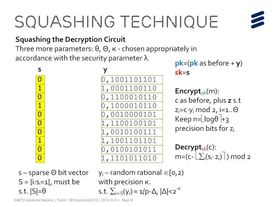 "Slide title 44 pt Text and bullet level 1 minimum 24 pt Bullets level 2-5 minimum 20 pt Characters for Embedded font: ! #$%& ()*+,-./0123456789:; @ABCDEFGHIJKLMNOPQRSTUV WXYZ[\]^_`abcdefghijklmnopqrstuvwxyz{|}~¡ ¢£¤¥¦§¨©ª«¬®¯°±²³´¶·¸¹º»¼½ÀÁÂÃÄÅÆÇÈËÌÍÎÏÐÑÒÓ ÔÕÖ×ØÙÚÛÜÝÞßàáâãäåæçèéêëìíîïðñòóôõö÷ øùúûüýþÿĀāĂăąĆćĊċČĎďĐđĒĖėĘęĚěĞğĠġĢģĪī ĮįİıĶķĹĺĻļĽľŁłŃńŅņŇňŌŐőŒœŔŕŖŗŘřŚśŞşŠšŢţ ŤťŪūŮůŰűŲųŴŵŶŷŸŹźŻżŽžƒȘșˆˇ˘˙˚˛˜˝ẀẁẃẄẅỲ ỳ–— ''' ""†‡…‰‹›⁄€™ĀĀĂĂĄĄĆĆĊĊČČĎĎĐĐĒĒĖĖĘĘĚĚĞĞ ĠĠĢĢĪĪĮĮİĶĶĹĹĻĻĽĽŃŃŅŅŇŇŌŌŐŐŔŔŖŖŘŘŚŚŞŞŢŢŤ ŤŪŪŮŮŰŰŲŲŴŴŶŶŹŹŻŻȘș−≤≥fifl ΆΈΉΊΌΎΏΐΑΒΓΕΖΗΘΙΚΛΜΝΞΟΠΡΣΤΥΦΧΨΪΫΆΈΉΊΰ αβγδεζηθικλνξορςΣΤΥΦΧΨΩΪΫΌΎΏ ЁЂЃЄЅІЇЈЉЊЋЌЎЏАБВГДЕЖЗИЙКЛМНОПРСТУФХ ЦЧШЩЪЫЬЭЮЯАБВГДЕЖЗИЙКЛМНОПРСТУФХЦ ЧШЩЪЫЬЭЮЯЁЂЃЄЅІЇЈЉЊЋЌЎЏѢѢѲѲѴѴҐҐә ǽ Ẁ ẁẂẃẄẅỲỳ№ Do not add objects or text in the footer area EAB/TZ Alexander Maximov | Public | © Ericsson AB 2013 | 2013-12-13 | Page 18 Squashing Technique"