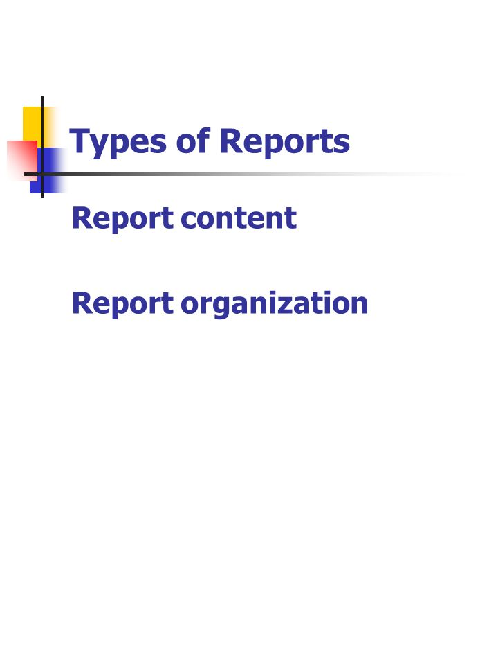 Types of Reports Report content Report organization